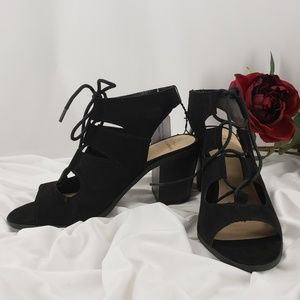 Black Suede-Like Sandal Style Boots